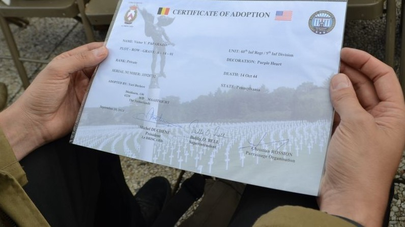Grave adoption papers