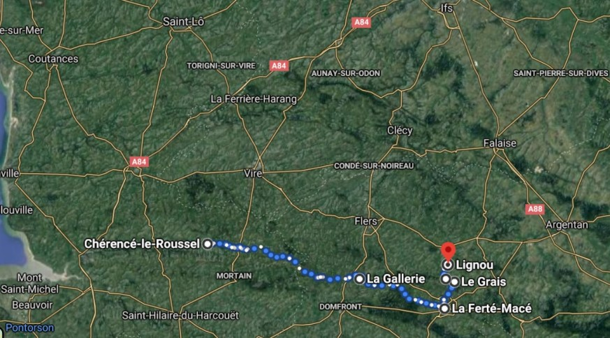 Route of 39th IR August 1944